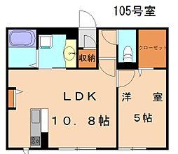 (仮)D-room上府北[105号室]の間取り