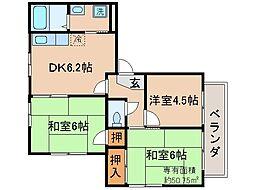 京都府京都市伏見区深草大亀谷大山町の賃貸アパートの間取り