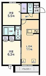 Praca Mitsuoka 2階2LDKの間取り