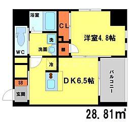 ソアエサカイースト 7階1DKの間取り