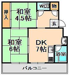 兵庫県伊丹市西台4丁目の賃貸マンションの間取り