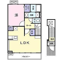 カトレアII番館 2階1LDKの間取り