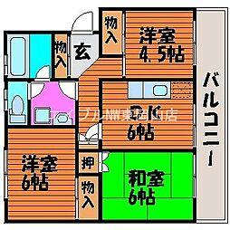 岡山県岡山市中区倉田丁目なしの賃貸マンションの間取り