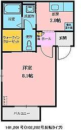 JR山形新幹線 山形駅 バス20分 小立大橋下車 徒歩5分の賃貸アパート 2階1Kの間取り