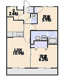 カーサ新所沢II[202号室]の間取り