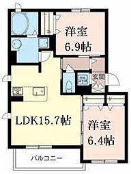 芦屋東山アパートメント 2階2LDKの間取り