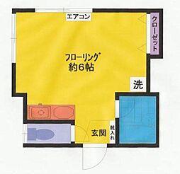 東京都中野区南台2丁目の賃貸アパートの間取り