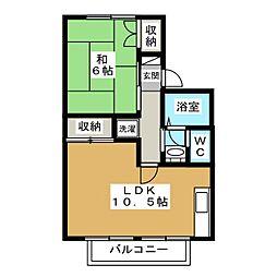 京都府京都市北区西賀茂山ノ森町の賃貸アパートの間取り