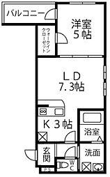 大阪府四條畷市南野1丁目の賃貸アパートの間取り