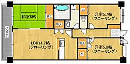 福岡県福岡市早良区百道3丁目の賃貸マンションの間取り