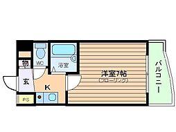 ピュアコート天神橋[3階]の間取り