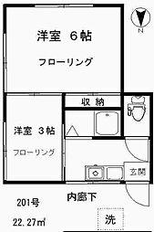 荏原町アパート[2F号室]の間取り