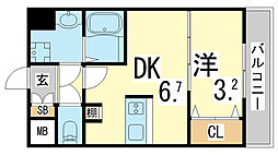 JR東海道・山陽本線 新長田駅 徒歩3分の賃貸マンション 9階1DKの間取り
