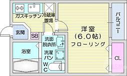 JR東北本線 仙台駅 徒歩16分の賃貸アパート 3階1Kの間取り