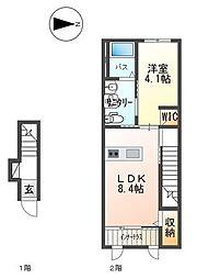 JR赤穂線 邑久駅 徒歩11分の賃貸アパート 2階1LDKの間取り