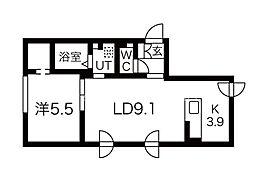 エル澄川 2階1LDKの間取り