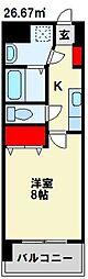 JR鹿児島本線 折尾駅 徒歩7分の賃貸マンション 2階1Kの間取り