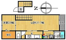 JR久大本線 御井駅 徒歩10分の賃貸マンション 4階1LDKの間取り