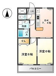 庵マンション[3階]の間取り