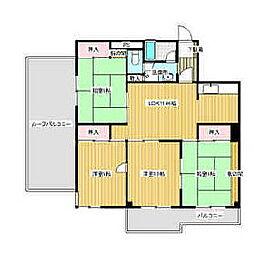 福岡県久留米市長門石2丁目の賃貸マンションの間取り