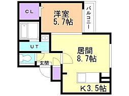JR函館本線 手稲駅 徒歩8分の賃貸マンション 4階1LDKの間取り
