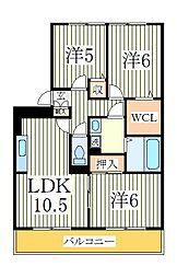 ラ・ミラージュ[1階]の間取り
