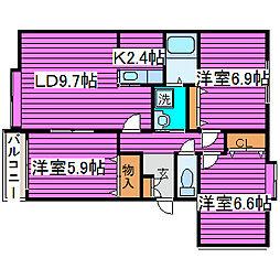 北海道札幌市東区東苗穂十条3丁目の賃貸マンションの間取り