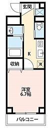 西武新宿線 新所沢駅 徒歩2分の賃貸マンション 2階1Kの間取り