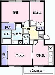 岡山県岡山市中区四御神丁目なしの賃貸マンションの間取り