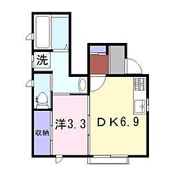 兵庫県姫路市千代田町の賃貸アパートの間取り