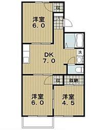 愛知県尾張旭市緑町緑ヶ丘の賃貸アパートの間取り