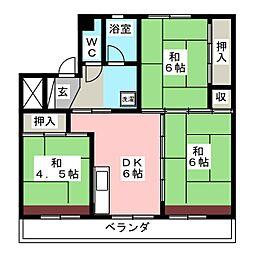 ビレッジハウス大池 1号棟[2階]の間取り