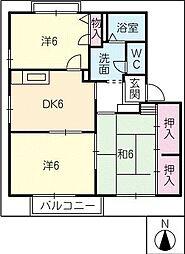 グレートタウン立川 E・F棟[2階]の間取り