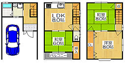 守口市金田町2丁目 近年改装済み中古3階建て 3LDKの間取り