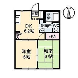 JR津山線 玉柏駅 徒歩28分の賃貸アパート 1階2DKの間取り