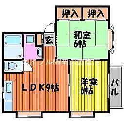 岡山県岡山市東区可知3丁目の賃貸アパートの間取り