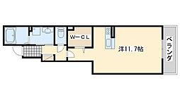 大阪府貝塚市加神1丁目の賃貸アパートの間取り