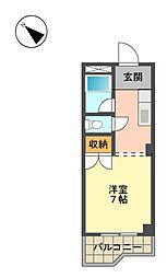 愛知県長久手市蟹原の賃貸マンションの間取り