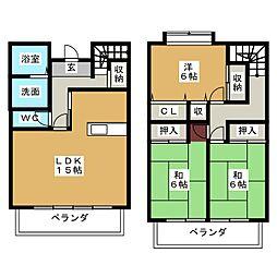 [一戸建] 愛知県名古屋市北区三軒町 の賃貸【/】の間取り