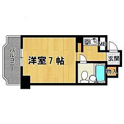 エステハイツ塚本 7階ワンルームの間取り