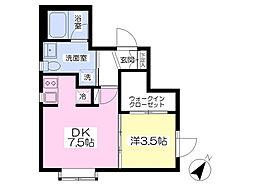Kukai Terrace白金 3階1DKの間取り