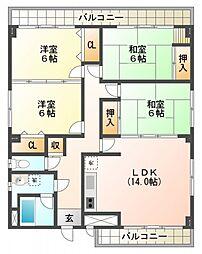 22番街ビル[2階]の間取り