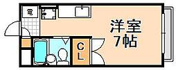兵庫県伊丹市伊丹8丁目の賃貸アパートの間取り