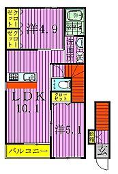 クレール松葉III[203号室]の間取り