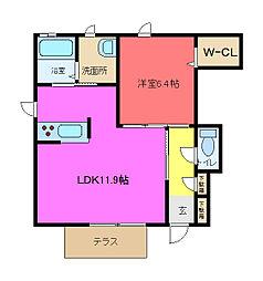 シャーメゾン稲田本町[A101号室]の間取り