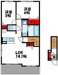 バンビーノ B棟 2階2LDKの間取り