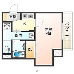 JR関西本線 東部市場前駅 徒歩8分の賃貸マンション 1階1Kの間取り