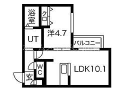 イルセントラレ南12条 2階1LDKの間取り