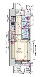 プレサンス天神橋筋六丁目ヴォワール 7階1Kの間取り