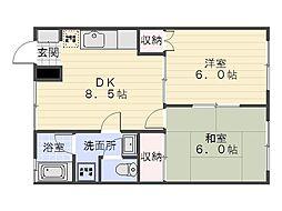トータスハイムII[302号室]の間取り